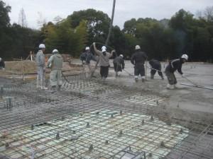 グループハウス ココロ大森北 基礎コンクリート打設