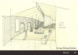 09_Sketch-Living Dining Kitchen-001